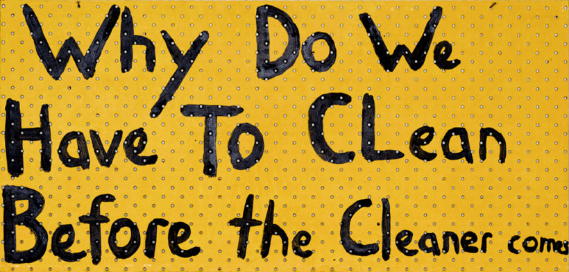Richard Lewer, Why do we have to clean before the cleaner comes, 2018, acrylic on pegboard, 38 x 79 cm, for WORD at Hugo Michell Gallery